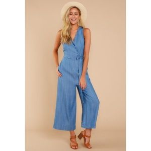 Chambray Jumpsuit with scallop detail